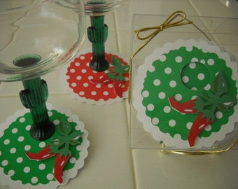 Margarita Time Paper Stemware Charms - Red & Green - set of 12