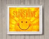 You Are My Sunshine - photo print - Bright Happy Yellow Orange Texture Poster Nursery Decor Wall Art Boys Girls Room Type Sun Smile School