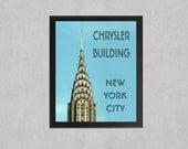 Chrysler Building NYC - photo print - Blue Aqua New York City Architecture Landmark Modern Decor Minimal Art Deco Wall Art Typography