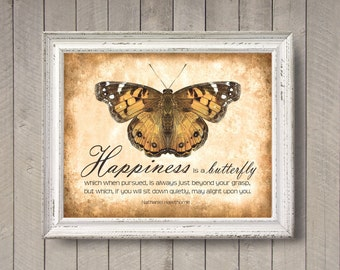 Happiness is a Butterfly - photographic print - Inspirational Quote Typography Peach Orange Cream Texture Distressed Home Decor Wall Art