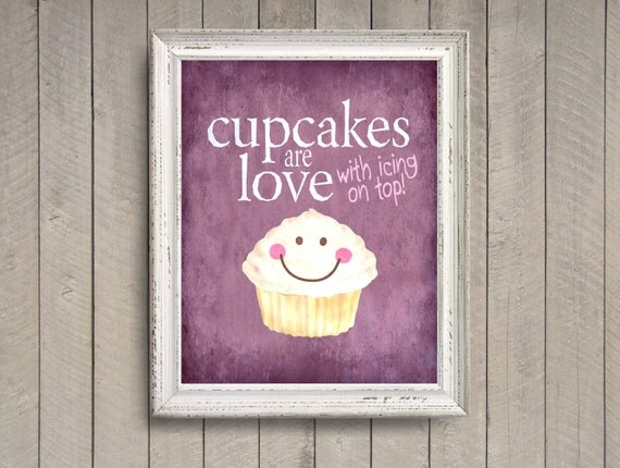 Cake Room Art : Cupcakes are Love Purple photo print Happy by quotograph