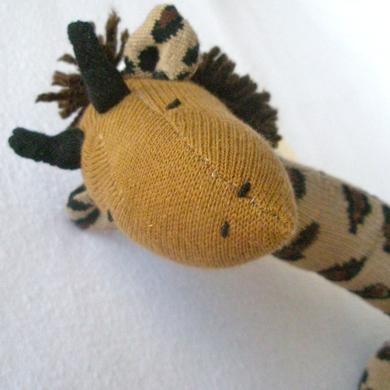 Gerry Giraffe. Sock giraffe.  Soft plush toy.