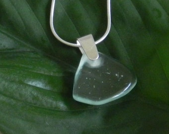 Light Green Blue, almost Clear Glass Pendant Necklace Sterling Silver Chain