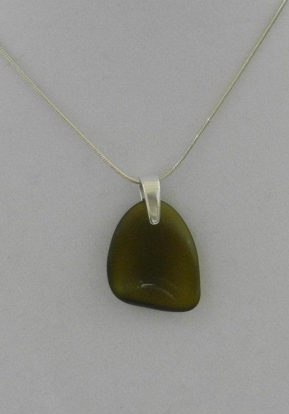 Olive Glass Pendant Necklace