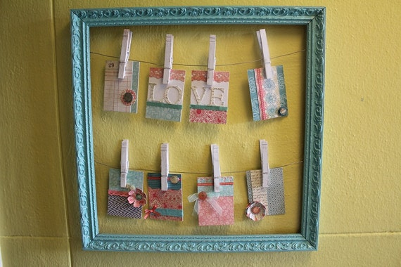 Repurposed Open Frame Picture Holder in Gorgeous Teals and Pinks/Oranges