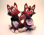Cute Red Foxes - Custom Animal Wedding Cake Topper - Unique Decoration