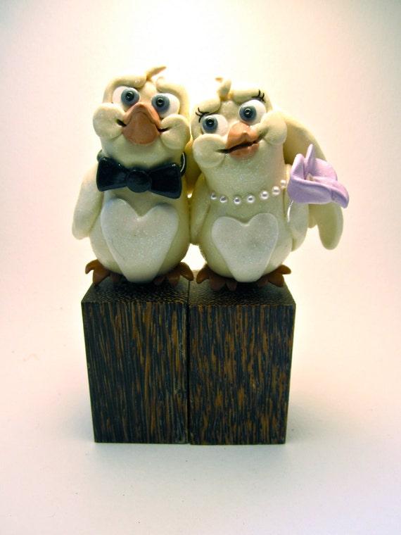 Canary Love Birds - Custom Animal Wedding Cake Topper - Unique Decoration