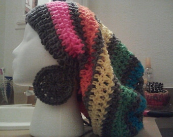 Rainbow Tam with Gray medium earrings set