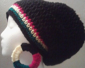 Black Rasta Tam with Rasta Earrings Set