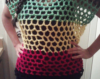 Rasta Crochet Tunic Top