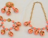Vintage 1930s Floral Salmon Celluloid Chunky Charm Russian Gold Necklace Bracelet Brooch Parure