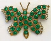 Vintage 1930s Rhinestone Butterfly Gold Tone Pot Metal Brooch Pin
