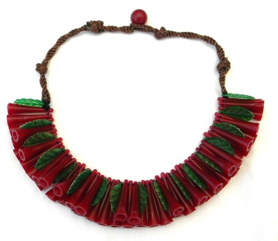 RESERVED Vintage Early Frank Hess Miriam Haskell Style Celluloid Horn-Shaped Beads & Leaves Silk Cord Necklace