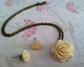 cream ivory rose set - flower earring post and bronze antique necklace - SALE- see listing for details