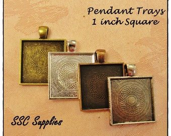 20 Pendant Trays - 1 inch Square choose Antique Brass, Silver, Antique Copper, or Antique Silver - Blank Cabochon Bezel Setting