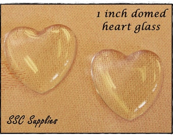 100 - Clear 1 inch Heart Glass Domes, cabochon 25mm - 1'' Heart