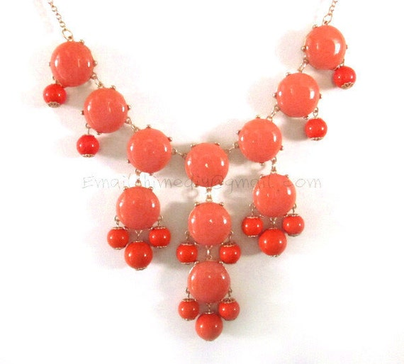 Orange - Bubble Statement Necklace - 27mm - Gold Tone