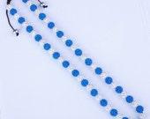 WOW 56 X10MM  Crystal stones Pave Disco Ball Rhinestone Crystal Beads Macrame Necklace / Crystal AB & Dark Blue