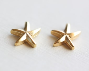Starfish Vermeil Gold Charm 03 - 18k gold plated over sterling silver, sea life pendants, beach, ocean, summer