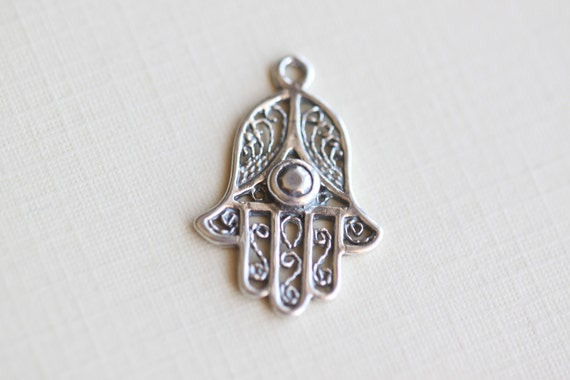 Hamsa Hand Sterling Silver Charm - good luck, fortune, happiness, health, fatima