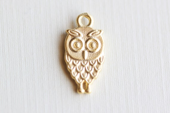 Owl Gold Vermeil Charm 01 - 18k gold plated over sterling silver, whimsical nature animal pendant