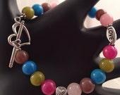 Candy Love: Fun Flirty Handmade Colorful Quartz Bead Heart Bracelet