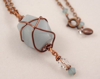 Amazonite Stone Bead Pendant Copper Wire Wrapped Necklace with Crystal accents Jewelry