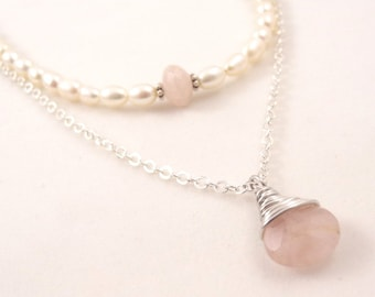 Pink Rose Quartz Silver Wire Wrap Freshwater Pearl Bead Necklace Pendant Bridal Bridesmaid Jewelry Wedding Beads