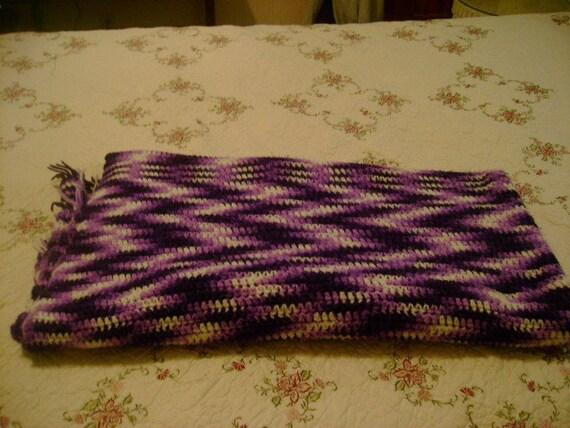 Large Vintage Crocheted Purple Afghan