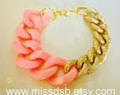 PEACH PINK & GOLD Textured Chain Bracelet