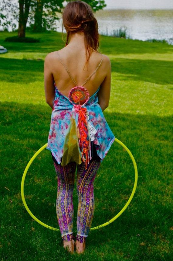 rainbow fairie dreamcatcher upcycled top (hippie, tiedye)