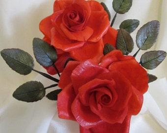 """gumpaste sugar flowers cake topper edible large 3"""" red rose anthurium ivy floral arrangement keepsake"""