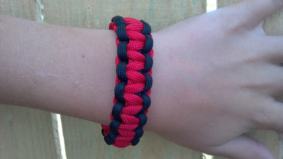 Red with Black Paracord Bracelet (custom size)