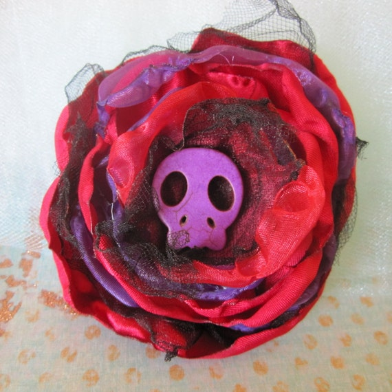 Day of the Dead Brooch Pin Sugar Skull Flower Red Purple Rose Dia de los Muertos Jewelry - Halloween