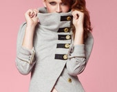 Tuck Madison Zip-Back Military Jacket - Grey Heather, Charcoal Heather & Black