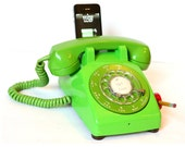 Vintage 70's Lime Green Rotary Phone iPod / iPhone charging speaker dock w/ remote by Rotary Revial