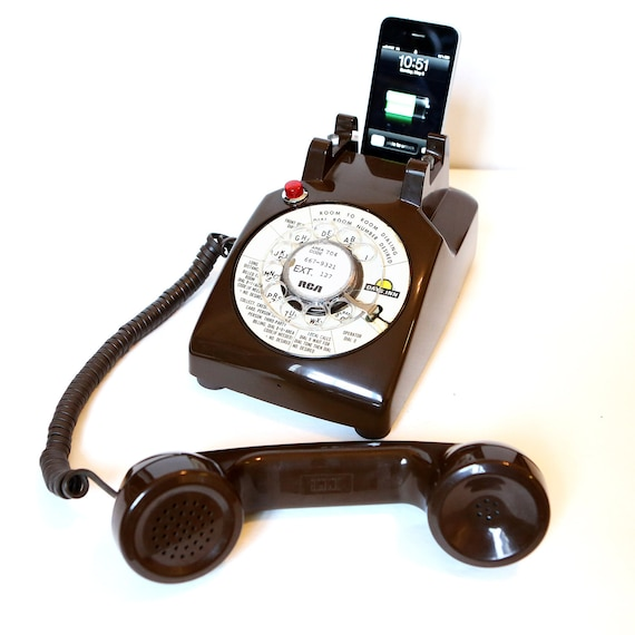 Vintage Chocolate Days Inn Rotary Phone iPod / iPhone speaker dock by Rotary Revival