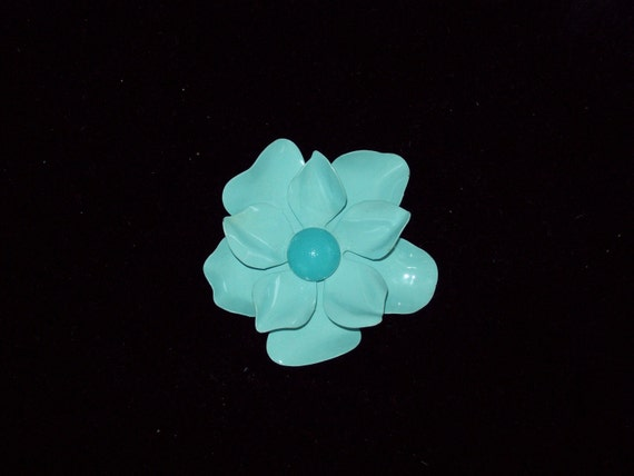 Beautiful Enameled Baby Blue Flower Brooch with Ruffled Petals and Brighter Blue Textured Center