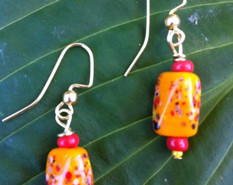 Orange confetti earrings
