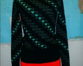 vintge sweater green and black