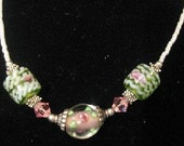 GREEN GLASS Bead With WHITE Stripe Necklace
