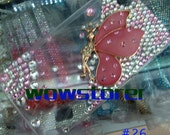 bling diamante crystal rhinestone handmade pink  Angel iphone  4 4s & 5 5g clear hard case cover NO.26