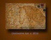 Original Artwork : Modern Contemporary Fine Art with gold leaf Golden Horse series w/ Free Gift