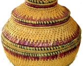 Hand Woven Wedding Basket Vintage Made in the Himalayas