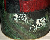 Painted Milk Can Cow Tin