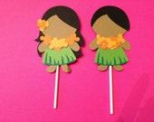 Luau Hawaiian Cupcake Toppers - Birthday Party, Shower, Invitations, Celebrations