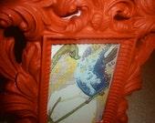 Burnt Orange Picture Frame with Bird Design