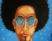 """Cool Blue Night  12"""" x 16""""-blue urban, hip-hop man in shades with afro along with stars and moon in a night sky"""