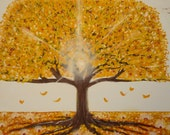 "Life Tree  12""x16""-Large lighted autumn tree with yellow leaves falling"