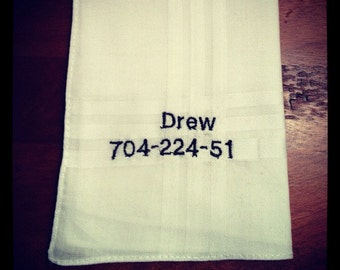 Custom Embroidered Calling Card Handkerchief